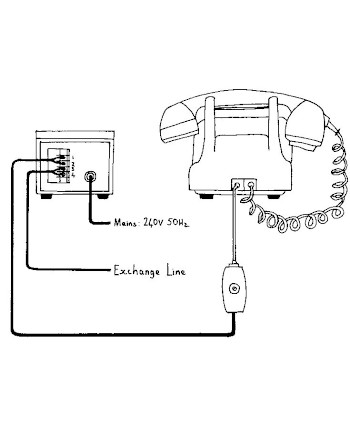 Sketch of telephone connected to autodialler