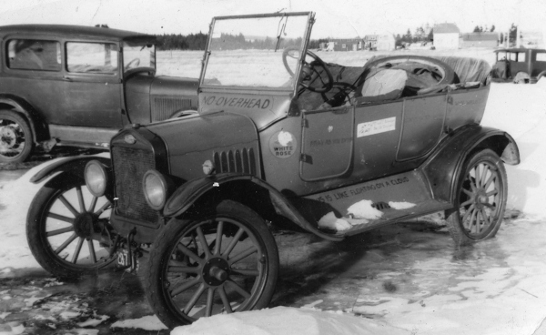 model t ford car in the snow