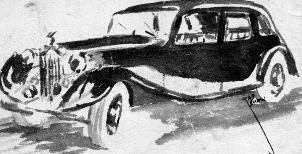 black ink-wash drawing of old car