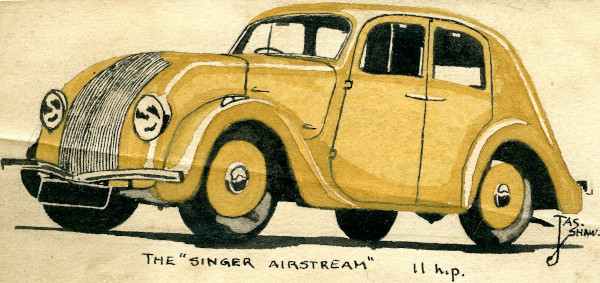 painting of old aerodynamic-styled car