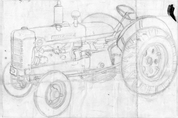 sketch of farm tractorpainting of old red car by a street lamp